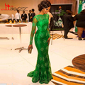 Best Selling Jade green SeeThrough Scoop Mermaid Appliques Celebrity / Evening Dresses Lace Prom Gown Open Back Long Sleeve 2016