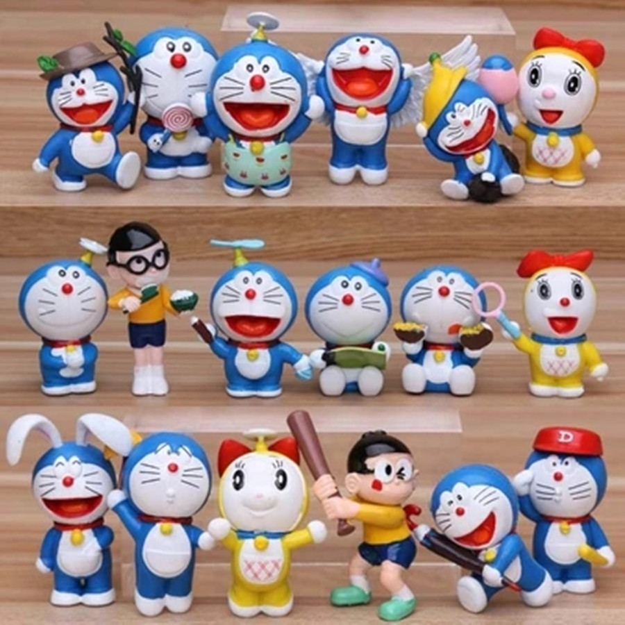18pcs/lot 5-6cm Lovely Doraemon Figures Doraemon Classic PVC Action Figure Toys