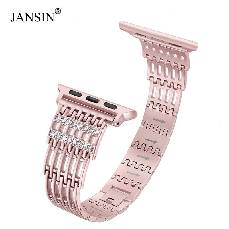 Diamond Stainless Steel strap for Apple Watch band 38mm/42mm/40mm/44mm wristband women bracelet iWatch band Series 5 4 3 2 1