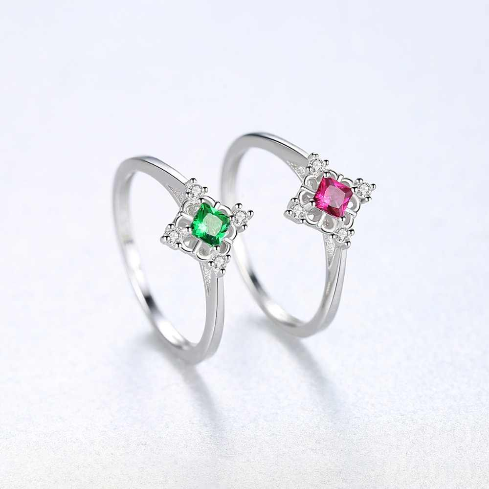 CZCITY ออกแบบ 925 เงินสเตอร์ลิงแหวนสแควร์สำหรับสตรีหรูหรา CZ สีแดงและสีเขียวอัญมณียอดนิยมเครื่องประดับคริสต์มาสของขวัญ