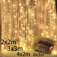 3x2 4x2 6x3m 300 Led Icicle Fairy String Lights Christmas Wedding Party Garland Outdoor Curtain Garden Decor