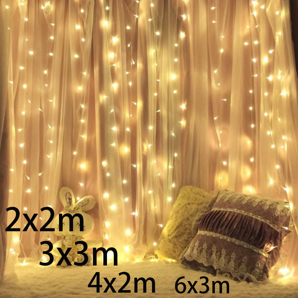 3x2/4x2/6x3m 300 LED Icicle fairy String Lights Christmas led Wedding Party Fairy Lights garland Outdoor Curtain Garden Decor