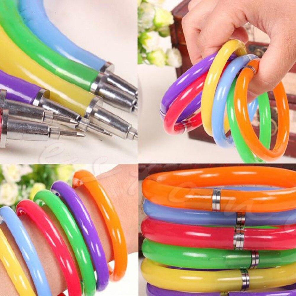 2018 High Quality 10 X Mixed Bulk Colorful Combo Novelty Ball Point Pens Wristband Bangle Bracelet