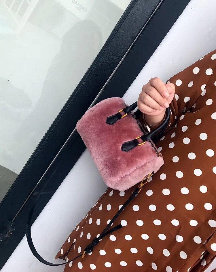Мини сумка новая кожаная сумка на молнии женская осенняя и зимняя меховая сумка из овечьей шерсти Бостонская сумка кожаная сумка - 6