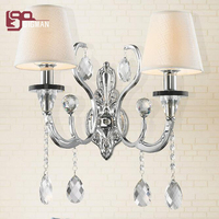 Европейский стиль кристалл настенные светильники люстры cristal wandlamp ткани абажур современный настенный светильник освещения