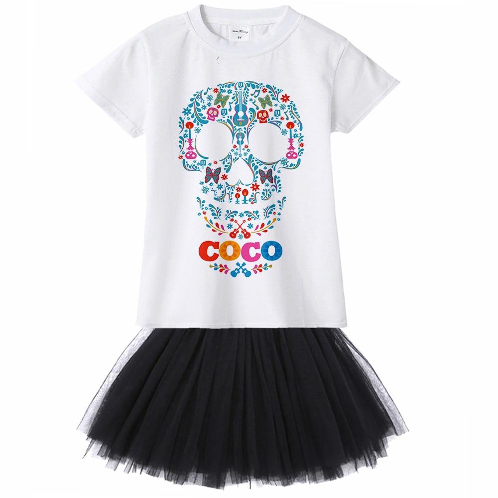 Coco Pixar Kids Girl Dress Skull Miguel Hector Cartoon Print Casual Dress for Children Girls Summer Princess Dress Baby Toddler girls cartoon print dress