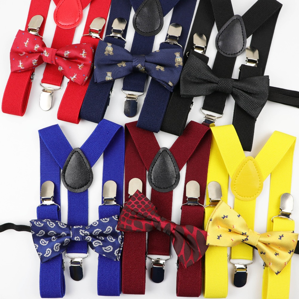 Lomsarsh Kids Adjustable Braces Elastic Suspenders and Bow Tie Set Childrens Solid Color Elastic Bow Tie Strap Clip Suspenders with Two-Piece Suit