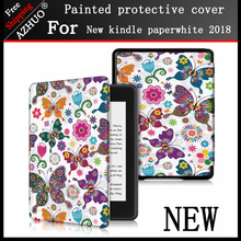 Printing Smart Cover Case For Amazon New Kindle Paperwhite 2018 Released funda 4 10th Generation