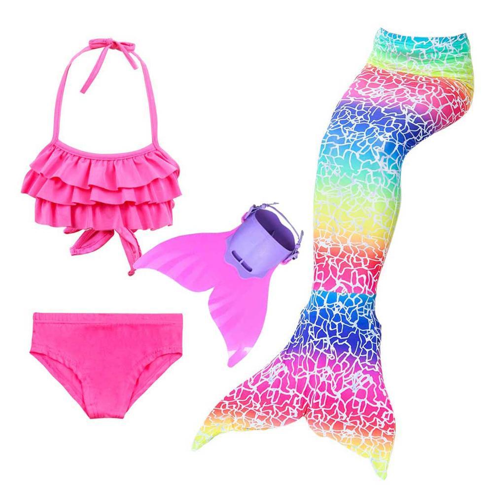 Купальник для девочек с хвостом Русалочки Ариэль, костюм для плавания с блестящими ластами и бикини, для косплея