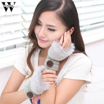 WOMAIL Women Girl Warm Winter Faux Rabbit Fur Wrist Fingerless Gloves Mittens jan30/P fed30