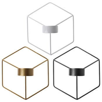 Nordic Style 3D Geometric Candlestick Metal Wall Candle Holder Sconce Home Decor 1