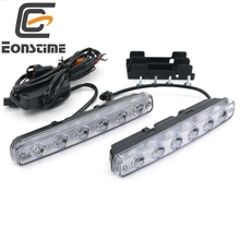 Eonstime 6500K 2 Pcs High Power 12W Super Bright 6 LED DRL Daytime Running Lights Fog Lamps Drop 12V/24V off lights Headlights
