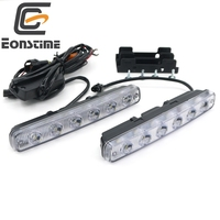 6500K White 2 Pcs High Power 12w Super Bright 6 LED DRL Daytime Running Lights Fog