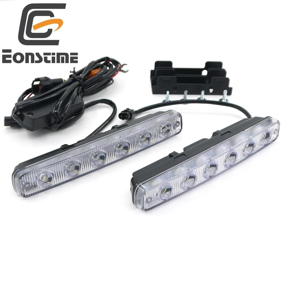 Eonstime 6500 كيلو 2 قطع عالية الطاقة 12 واط السوبر مشرق 6 led drl النهار تشغيل أضواء مصابيح الضباب قطرة 12 فولت / 24 فولت قبالة أضواء المصابيح الأمامية