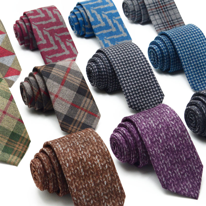 TagerWilen Wool Tie Skinny 6 Cm Floral Necktie High Fashion Plaid Ties For Men Slim Cravat Neckties Mens Gravatas Homens T-05