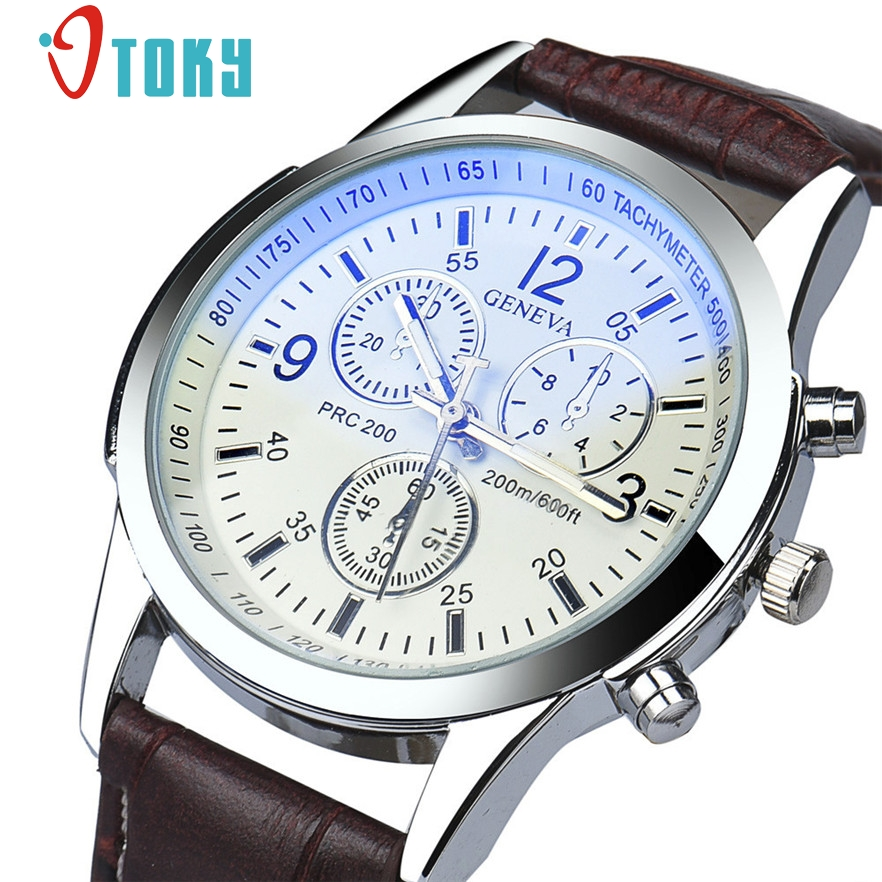 OTOKY Geneva quartz men watch Casual Leather reloj masculino Male Sports Wristwatch Clock Gift 1pcs geneva heart shaped pattern male quartz watch