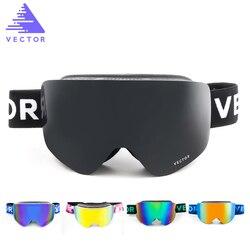 VECTOR Ski Goggles Masks Men Women 2 Lens Skiing Eyewear UV400 Anti-fog Snowmobile Snowboard Goggles Skating Glasses HXJ20011