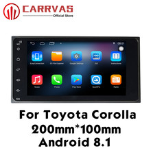 CARRVAS Double Din Android 8.1 Auto Radio For Toyota 7 Touch Screen 200*100mm Quad Core GPS Navigation Head Unit Car Player BT