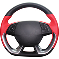 XuJi Black Red Genuine Leather Car Steering Wheel Cover for Citroen DS5 DS 5 DS4S DS 4S