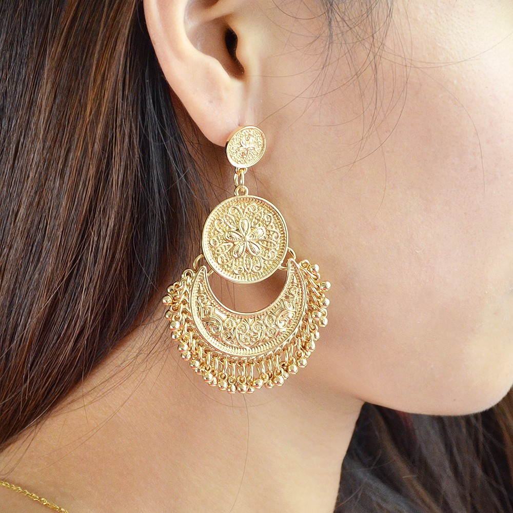 Feelshine Retro Style Ethnic Chandelier Earrings Antique Gold ...