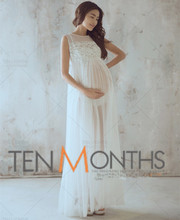 Maternity Dresses Long White Lace Dress Maternity Photography Props Fancy  Photo Shoot Pregnancy Clothes For Pregnant Women