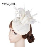 Phụ nữ thanh lịch fascinator đảng hats elegant phụ nữ cưới cap với phụ kiện lông tóc cho đua giáo hội cocktail hats SYF246