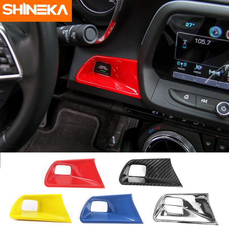 SHINEKA Engine Start Stop Button Trim Keyless Start Switch Cover for Chevy Camaro 2017+ Car Styling interior for chevrolet camaro 2016 2017 abs carbon fiber style start stop engine push button frame key panel cover trim 1 piece