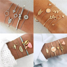 Modyle 5 Pcs/set Women Fashion Crystal Leaves Geometric Chain Gold Silver Color Bracelet Set Bohemian Vintage Jewelry(China)