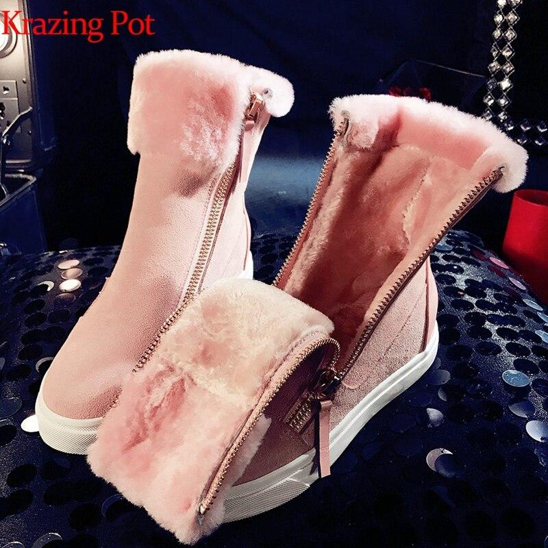 Ayakk.'ten Diz Altı Çizmeler'de Krazing Pot inek süet shearling yuvarlak ayak fermuar kar botları düz platform superstar peri sıcak tutmak Kış orta buzağı çizmeler L76'da  Grup 1