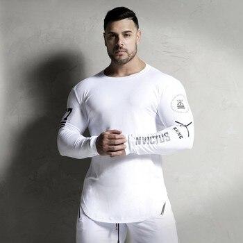 Nuevo moda de alta elasticidad deportivos de manga larga Camiseta Hombre  Fitness T camisa de los hombres es sólido gimnasios culturismo Tee camiseta 8545acdb08f