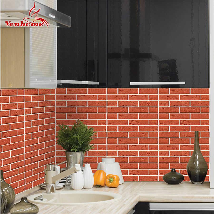 Detail Feedback Questions About 3d Red Brick Subway Tiles Peel And