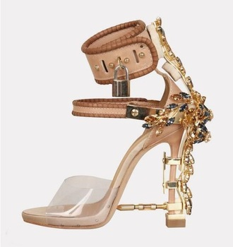 Luxury Padlock Spiked High Heel Pumps Shoes Women Transparent PVC Crystal Sandals Cut-out Ankle Wrap Ladies Dress Shoes