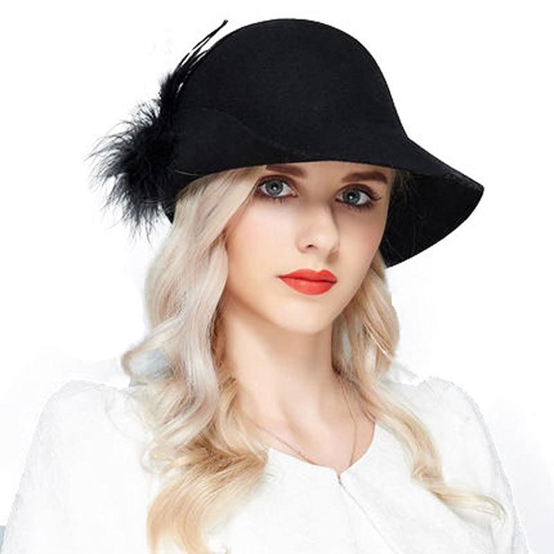 FS Vintage Wide Brim 100% Wool Felt Church Hats For Black Gray Women Feather  Winter 6e61c68ebe3