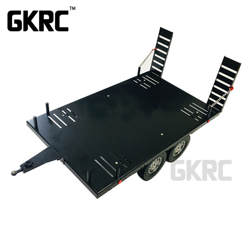 Double Axis Metal Alloy Flatbed Trailer 420mm*250mm For 1/10 Rc Crawler Trx4 Rc4wd D90 Scx10 Vs4-10 Jimny Gen8 Wraith