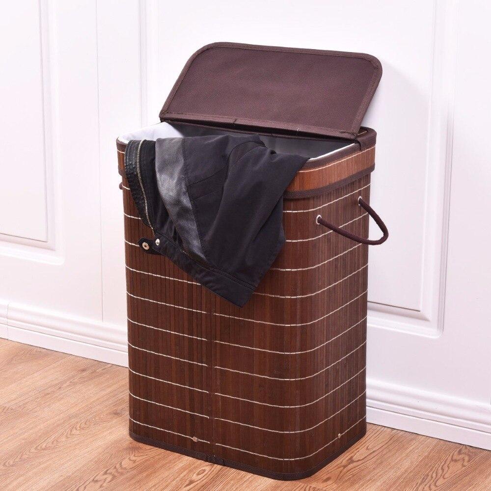Goplus rect бамбука препятствуют спальни корзина для белья для грязной стирки одежды скл ...