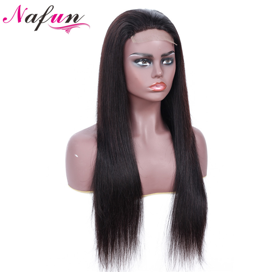 NAFUN 4X4 Lace Closure Wigs Natural Color Brazilian Straight Lace Wigs Remy Human Hair Wigs For