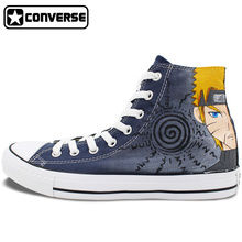 High Top Sneakers Men Women Converse All Star Anime Naruto Uzumaki Gaara Design Black Hand Painted Shoes Man Woman Cosplay Gifts