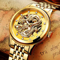 Новые мужские часы Уникальный дизайн мужские часы с драконом роскошные золотые механические часы мужские часы из нержавеющей стали
