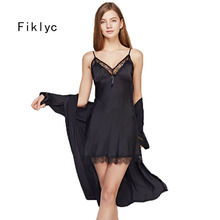 Fiklyc brand womens sleep & lounge two pieces robe & gown sets sexy hollow out lace & satin female mini nightdress bathrobe set