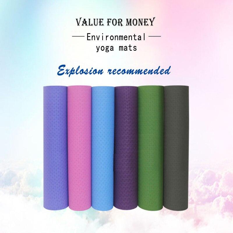 Tapis de yoga Fitness Tapis 6mm TPE Tapis De Yoga Non-slip Respectueux de l'environnement Insipide Véritable Délicate Et Pratique Coloré