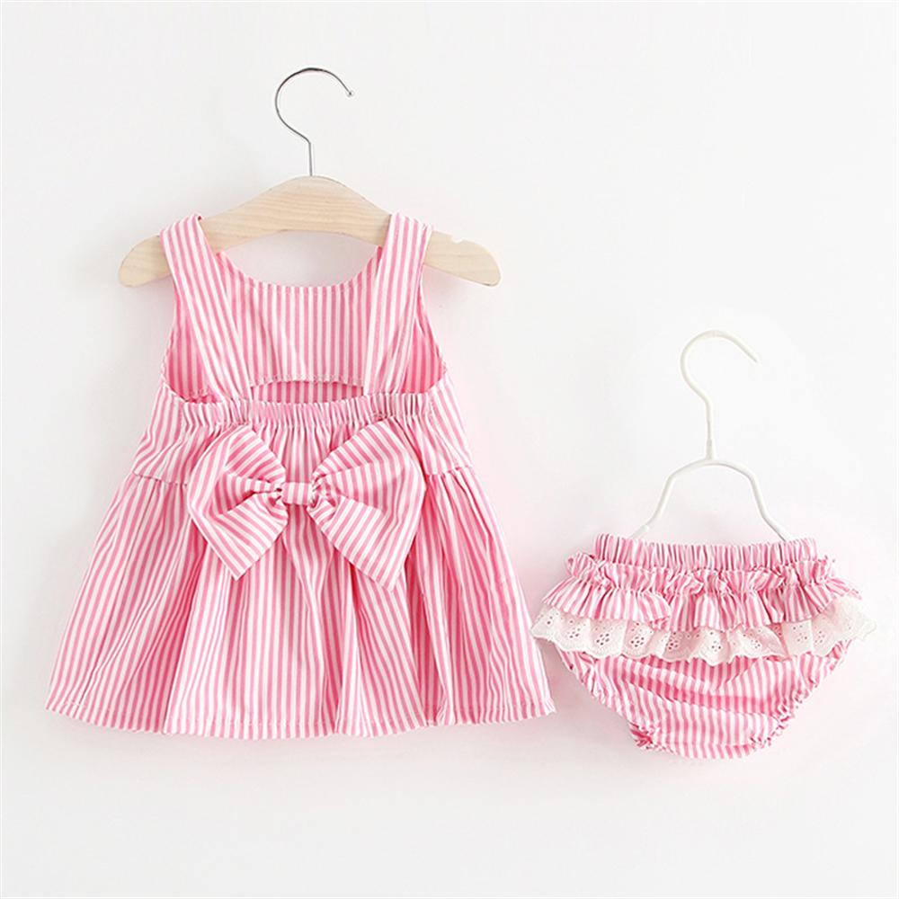 Summer Baby Girls Newborn Dress Cute Bowknot Stripe Sleeveless Girl Toddler Dress + PP Shorts Kids infant 2pcs Clothing Sets