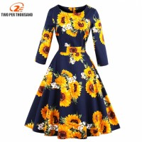 S 4XL Women Robe Pin Up Dress Retro Vintage 50s 60s Rockabilly Flowers Swing Spring Autumn