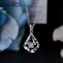 JEWELLWANG Diamond Pendants for Women 0.04CT 18K White Gold 0.3CT Effect Diamond Necklace Brilliant Pendant Gifts Fine Jewelry