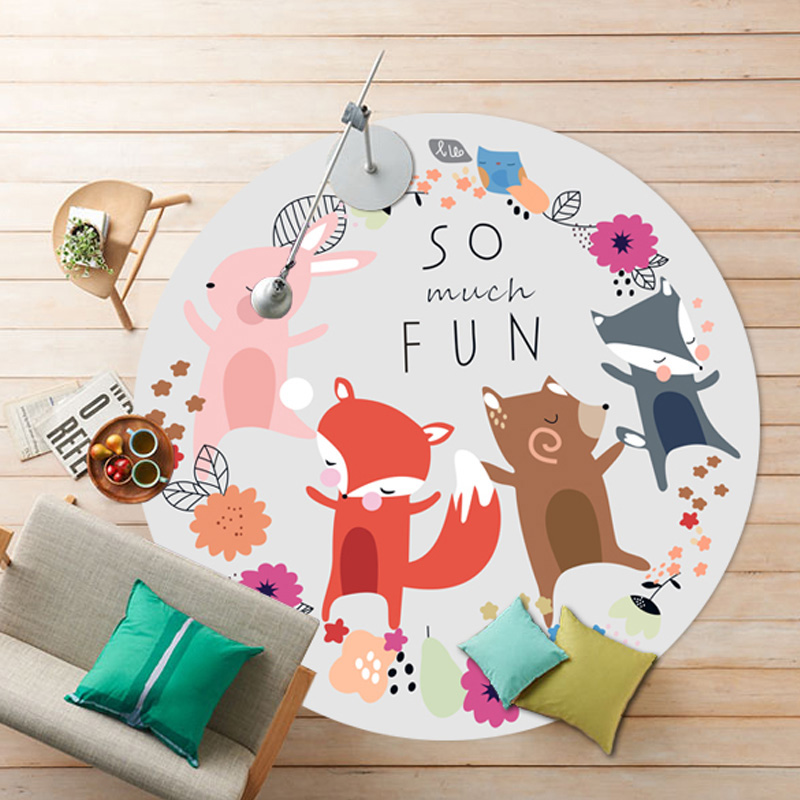 160CM Round Cartoon Elephant Carpets For Living Room Children Bedroom Rugs And Carpets Soft Velvet Kids Play Mat Tent Area Rug