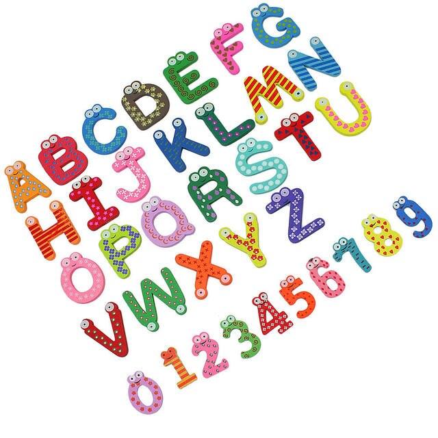 36 piezas números de letras magnéticas de Madera Juguetes educativos para niños diseño de dibujos animados lindo niños aprendizaje Montessori juguete regalos Decoración