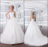 2014 White long wedding dress bridal gowns lace up back