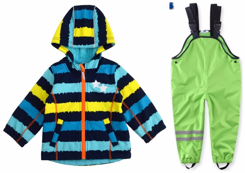 Rainproof and windproof warm boys and girls spring and autumn set children's jackets and trousers marxism and darwinism