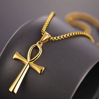 Religion Egyptian Ankh Crucifix Necklaces & Pendants Stainless Steel Symbol of Life Cross Necklace For Men Women Vintage Jewelry