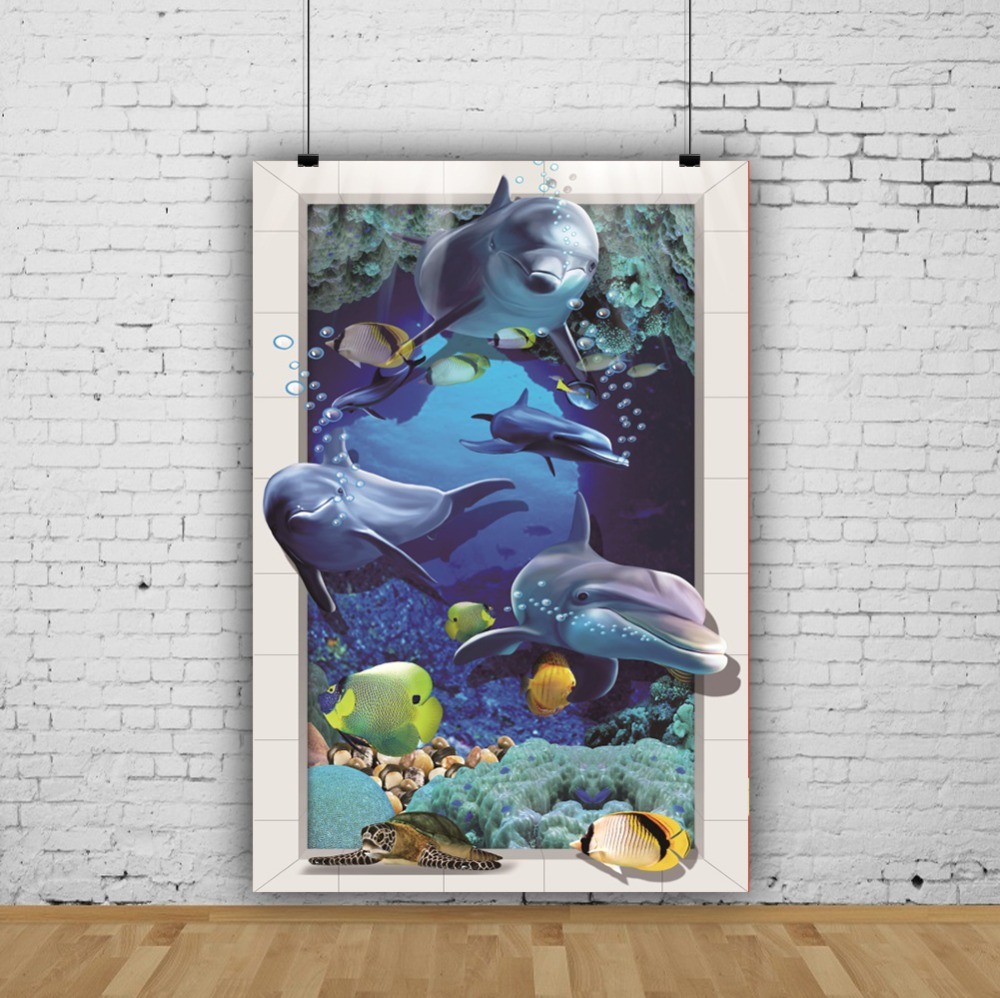 Laeacco Underwater Coral Turtle Animals Frame Baby Portrait Cartoon Scene Photo Background Photography Backdrop For Photo Studio in Background from Consumer Electronics