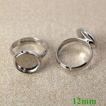 Пустой ободок детский кольцо Основы W/12 мм внутренний круглый колодки кабошон детей Обувь для девочек регулируемые Настройки кольцо Выводы родий тон